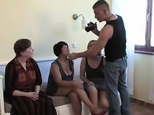Blonde brunette in group sex