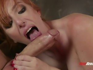 Chad White gets incredibly solid blowjob from bright redhead babe