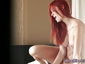 Redhead babe anally riding her lovers cock