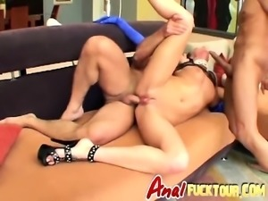 Glamorous brunette taking a really rough anal fuck