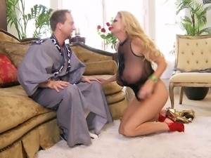 Kelly Madison is great at bouncing on a huge love tool