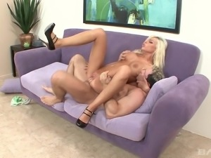 Sexy spooning and pussy wasting with his bosomy Britney Amber