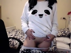 Pigtailed Asian teen flashes her honey hole on the webcam