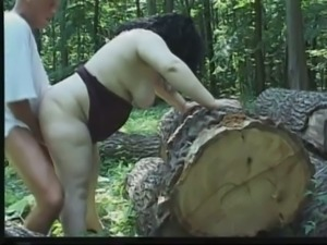 Extremely fat brunette bitch gets fucked rather hard in the woods