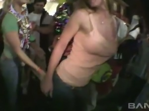 Lots of light haired clubbing bitches expose boobies at the party