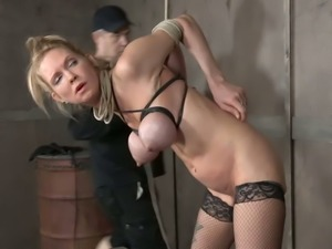 Tied up spoiled blonde nympho loves breast bondage a lot actually