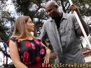 Rimmed babe fucks bbc