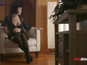 Dressed in sexy black stuff Olive Glass gives a really solid blowjob