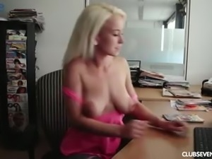 Metal sex toy is quite good help for busty blonde babe Lexie's masturbation