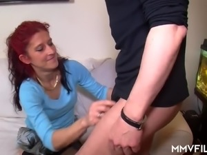 Ugly red haired cheap slut gets mouthfucked and hammered missionary style