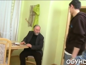 Naughty old dude bonks young throat