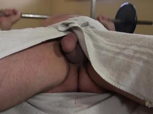 Fresh naturally looking blonde hottie Eva wanks dick of plump man