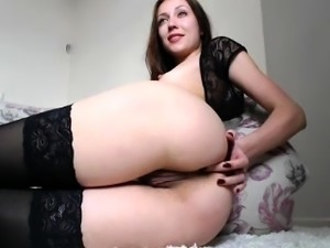 Redhead goddess is fingering herself in solo masturbation