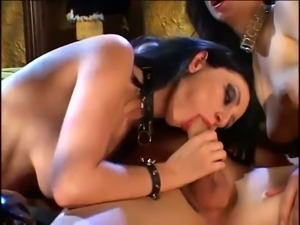 Hot mistress Kamila and her friend tag teaming some punk dude's cock