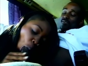 Dirty black hooker Menage Trois provides black stud with a wild blowjob