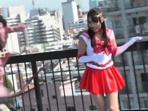 Pretty Asian girl in uniform fulfills her fetish fantasies
