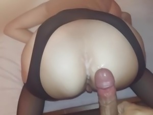 Doggy style in pantyhose with cum on asshole