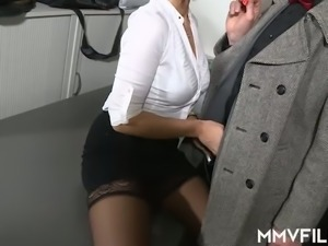 Lewd detective gets a really fantastic blowjob from busty Sina Velvet