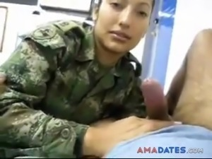 Military brunette tasting cock in the camp