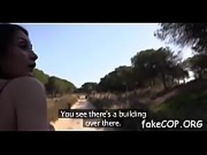 Vivid sex act by agile fake cop