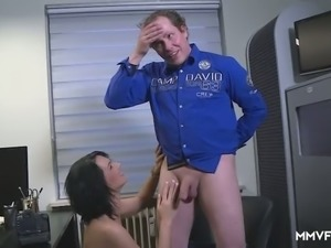 Stunning busty office filth Sina Velvet gets absorbed with sucking stiff dick