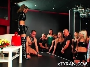 S&m fetish act with dude getting wax and throat drilled