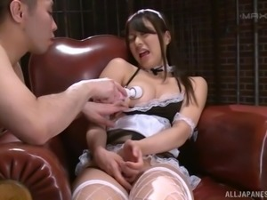 Yume Kana wears fishnets while being ravished with toys