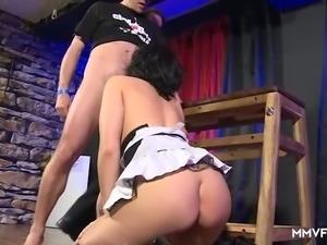 Gifted dirty slut with dark hair Sina Velvet wanks and sucks dicks