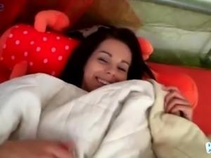 Yet sleepy but already horny brunette cutie Kiki uses dildo for her slit