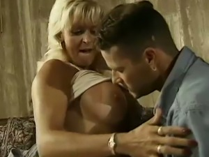 Tanned blonde housewife doesn't waste time and starts riding fat cock