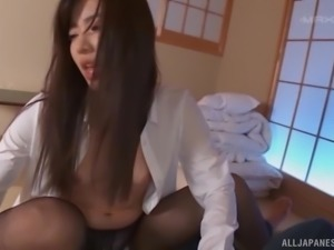 Japanese cutie Yume Kana enjoying her partner's throbbing rod
