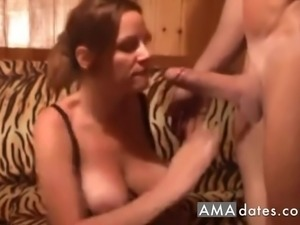 Blonde wife with big natural tits gives two big hard cocks