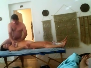Horny mature wife with big tits gets massaged and fucked