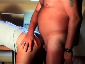 Slutty mature wife has a stiff cock plowing her anal hole
