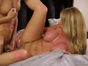 Appetizing bosomy MILF Rachael Cavalli bends over and begs for doggy fuck