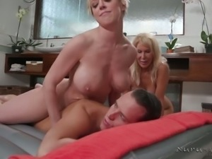 63 yo oldie Erica Lauren shares strong cock during massage for BJ