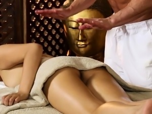 Asian beauty tugging and sucking her masseur