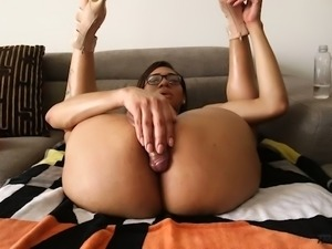 Nerdy rather flexible Tgirl Natalia La Potra keeps on wanking her own dick