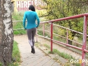 Lots of pissing queens will flash pussies and sexy butts outdoors