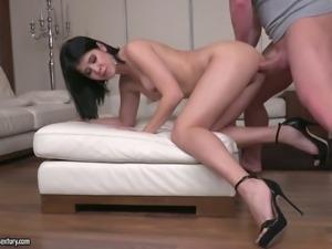 Buxom hot like fire Czech brunette Lady Dee loves riding dick on top