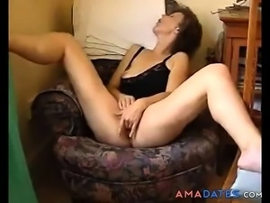Horny housewife caught while masturbating