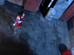 Cute Asian girl in a sexy costume gets drilled by a monster