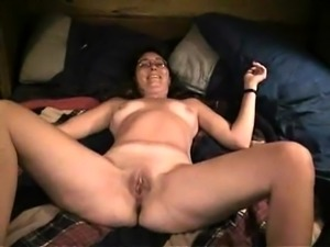 Horny amateur wife with glasses takes a hard dick up her ass