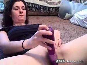 Hairy MILF fucks a huge toy