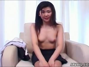 Giggling all natural Japanese black head Wakana Motoki flashes her small tits