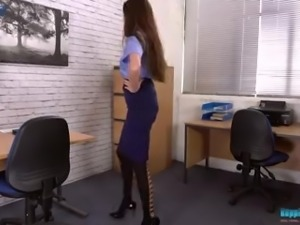 Amazing hottie Britney is a naughty secretary who love stripping