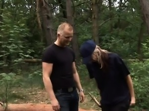 Sexy German babe fucks in the nature