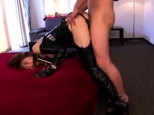 Busty Japanese nympho in latex is addicted to hardcore sex