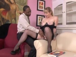 Palpitating pornstars getting erotic in an orgasmic interracial action