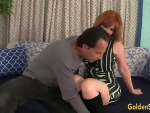 Red haired woman Freya Fantasia lets dude pound her extremely hungry twat